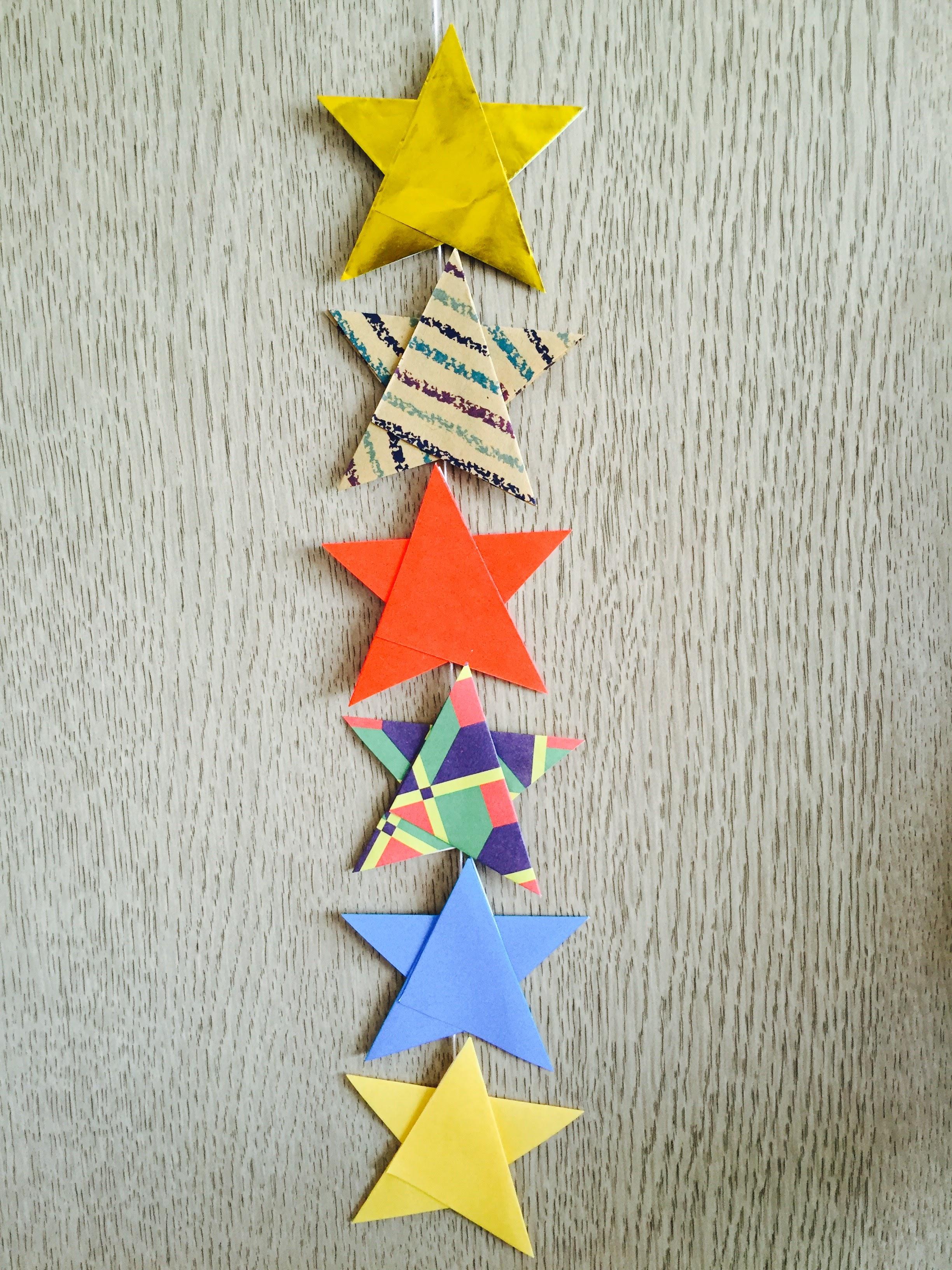 七夕飾り折り紙 簡単な星と ...