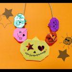 ハロウィンのかぼちゃの折り紙(平面)で飾り付け!繋げてネックレスに