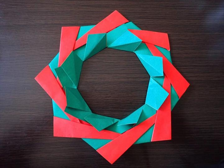 クリスマスリース折り紙 おしゃれ