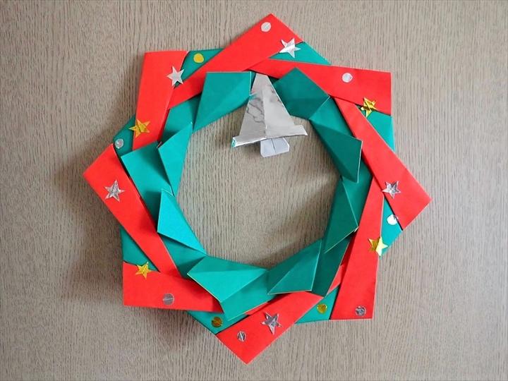 クリスマス 折り紙リース 簡単